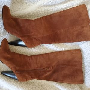 Jessica Simpson knee high suede cognac boots